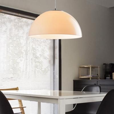 Cream Acrylic Shade Dome Suspended Light Modernism 1 Light Ceiling Pendant Light for Sitting Room
