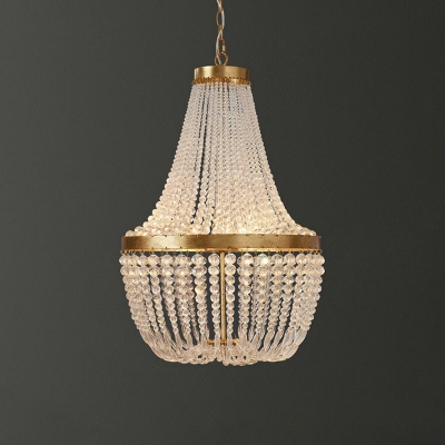 Crystal Beaded Chandelier Light Vintage Retro Style 3 Heads Hanging Chandelier in Antique Brass