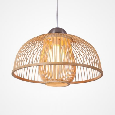 Dome Pendant Light with Inner Rattan Shade Contemporary Single Light Lighting Fixture in Wood