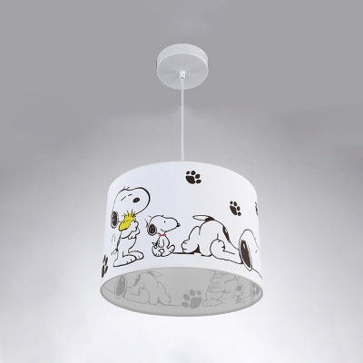 Drum Shade Pendant Lamp with Cartoon Dog Baby Kids Room Fabric Single Light Pendant Light