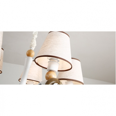 Fabric Shade Tapered Hanging Light with Cute Animal Baby Kids Room 5 Lights Chandelier in White