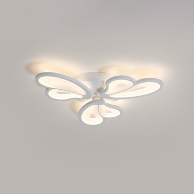 Heart Shape LED Semi Flush Mount Contemporary Metal Triple Lights Ceiling Lamp in White