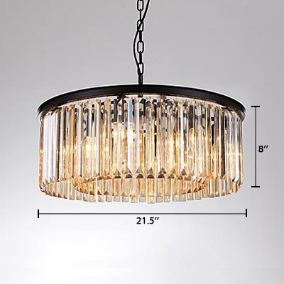 Modern Chic Round Hanging Lamp Amber Crystal 6 Lights Decorative Suspension Light in Black Finish