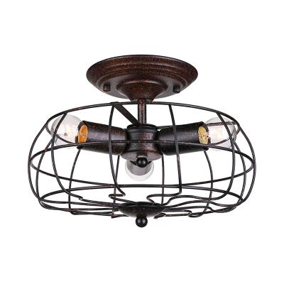 Mottled Copper 3 Light Industrial LED Wall Light in Fan Shape Design