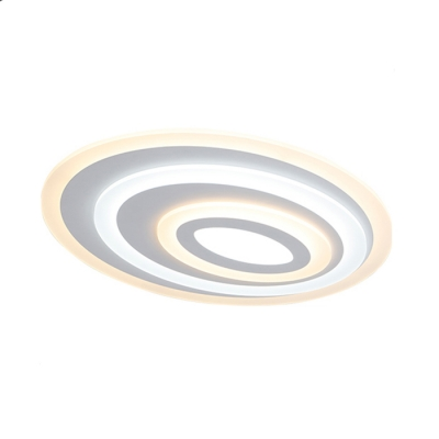 Multi-Layer LED Ceiling Lamp with Ellipse Acrylic Shade Contemporary Surface Mount Ceiling Light in White