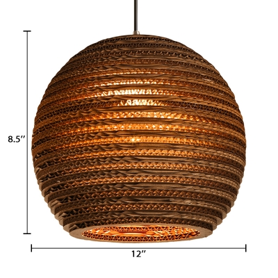 Paper Globe Suspension Light Chinese Style 1 Light Hanging Pendant Light in Brown for Coffee Shop