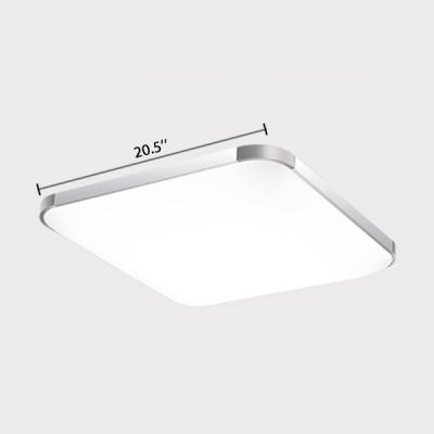Silver Square LED Ceiling Lamp Minimalist Aluminum Flush Light in Warm/White for Living Room
