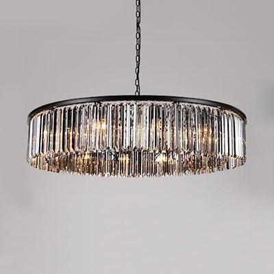 Smoke Crystal Round Hanging Light Modern Fashion 8 Heads Indoor Lighting Fixture for Restaurant