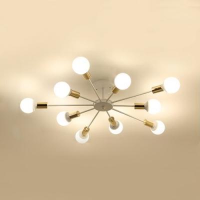 Sputnik Semi Flush Light Fixture Industrial Modernism Metal 6/8/10 Lights Semi Flush Mount in Soft Gold