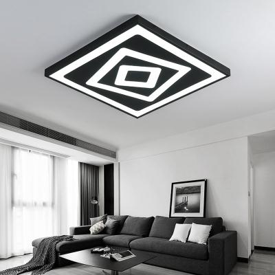 Stylish Modern Square LED Flush Mount Metallic Ultra Thin Ceiling Light in Black for Office Studio