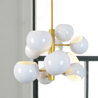 White Finish Global Suspended Light with Metal Shade Modern Fashion 10 Heads Hanging Lamp