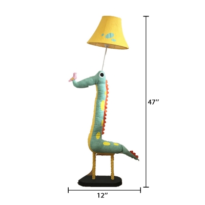 Bell 1 Head Floor Light with Lovely Dinosaur Base Yellow Fabric Shade Standing Light for Kids Bedside