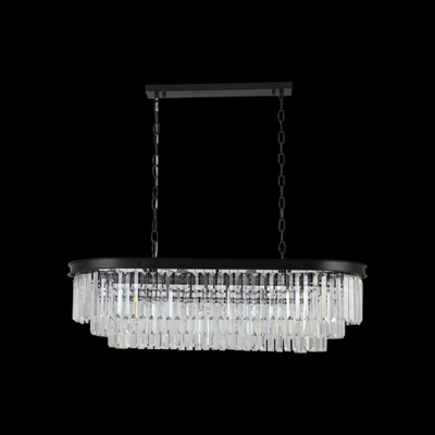 Black Finish Ellipse Chandelier Lamp with Clear Crystal Contemporary 8 Lights Hanging Light
