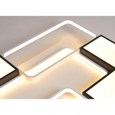 Blocks Shape Flush Light with Acrylic Shade Contemporary LED Ceiling Lamp in Warm/White