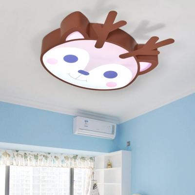 Cartoon Deer Flush Light Brown Metallic LED Ceiling Flush Mount for Nursing Room
