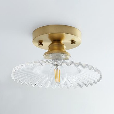 Clear/Olive Green Glass Shade Ceiling Light with Scallop Loft Style Industrial 1 Light Semi Flush Mount