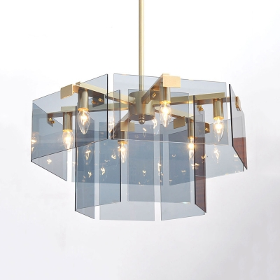 Dusty Blue Geometric Hanging Chandelier Post Modern Acrylic 6/8 Lights Suspended Light