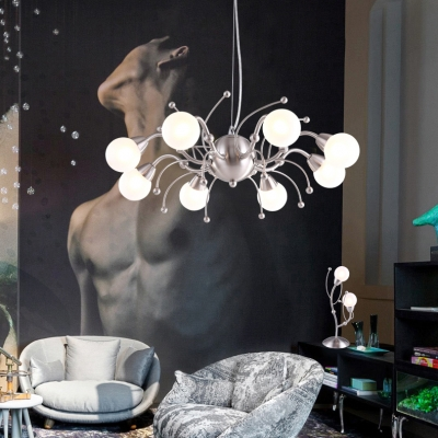 Gooseneck Hanging Lamp with Modo Opal Glass Shade Vintage Luxury 8 Lights Chandelier in Nickle