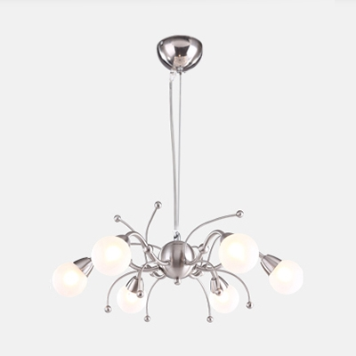 Nickle Finish Globe Chandelier Lamp Contemporary Frosted Glass Shade 6 Lights Hanging Lamp