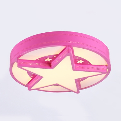 Round Ceiling Fixture with Star Children Bedroom Acrylic LED Flush Mount Light in Blue/Pink/Yellow