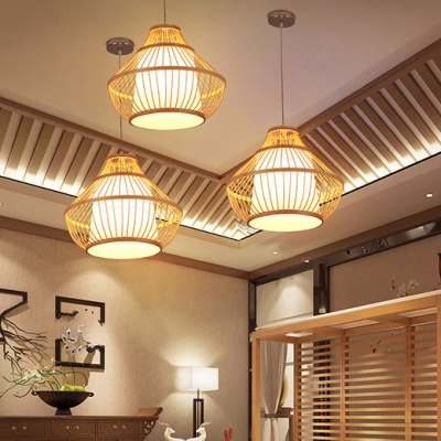 Single Light Gourd Hanging Light with Rattan Shade Nordic Style Drop Ceiling Lighting in Wood
