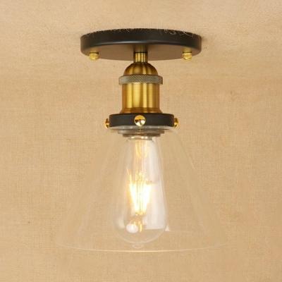 Traditional Industrial Mini Semi Flush Mount Metallic 1 Light Ceiling Flush Mount in Natural Brass for Warehouse