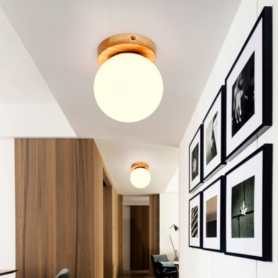 White Glass Orb Flush Light Fixture Minimalist Single Light Surface Mount Light for Corridor Hallway