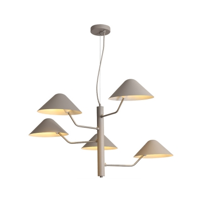 3/5 Lights Mushroom Hanging Light Nordic Style Metallic Chandelier Lamp in Gray for Coffee Shop