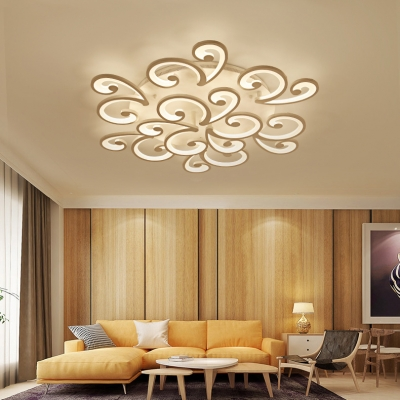 9 Heads Swirl Ceiling Fixture Contemporary Metal LED Semi Flush Mount Light for Study Room