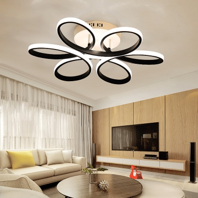 Black Twist LED Ceiling Fixture Contemporary Simple Acrylic Semi Flush Mount in Warm/White