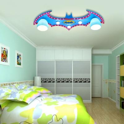Blue Bat Flush Light Fixture Wooden 5 Lights Decorative Flush Mount Light for Kindergarten