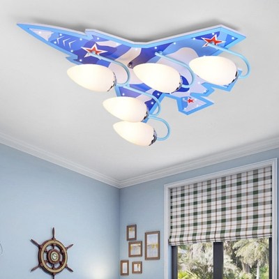 Blue/Green Aircraft Flush Light Fixture Acrylic 5 Lights Lighting Fixture for Baby Kids Room