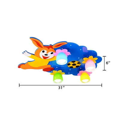 Cartoon Animal 4 Heads Flush Mount Colorful Glass Shade Ceiling Lamp for Boys Girls Room