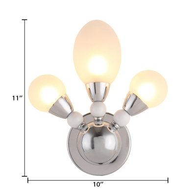 Chrome Finish Oval Wall Mount Fixture Minimalist Opal Glass 3 Heads Wall Lighting for Living Room
