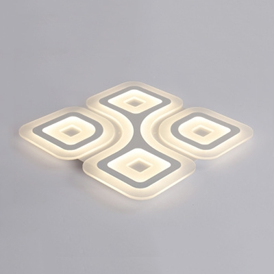 Geometric Ultrathin LED Flushmount Contemporary Acrylic Surface Mount Ceiling Light in Warm/White