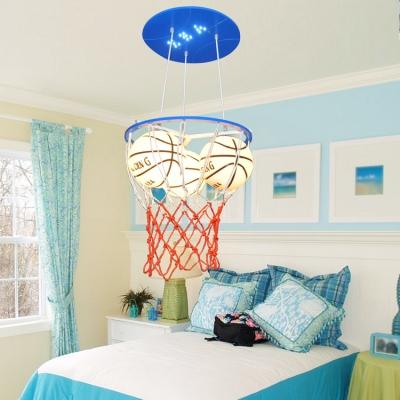 Glass Basketball Hanging Light Boys Room Height Adjustable 3 Heads Pendant Light in Blue/Orange