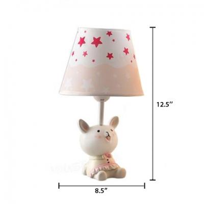 Lovely Bunny Single Light Table Lamp with Star Design Fabric Shade White Desk Light for Children