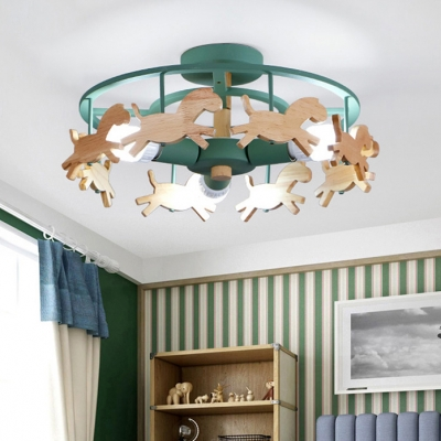 Triple Light Horse Ceiling Fixture Baby Kids Room Wood Semi Flush Mount in Green