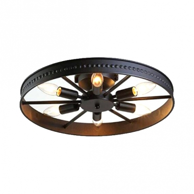 Wrought Iron Wheel Lighting Fixture Vintage Industrial 6 Lights Flush Mount in Black for Coffee Shop
