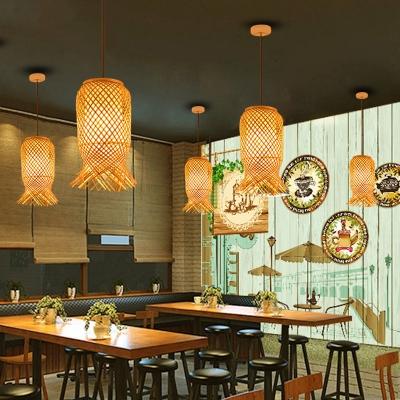 1 Light Rattan Pendant Light Modern Design Knit Hanging Lamp in Wood for Coffee Shop Restaurant