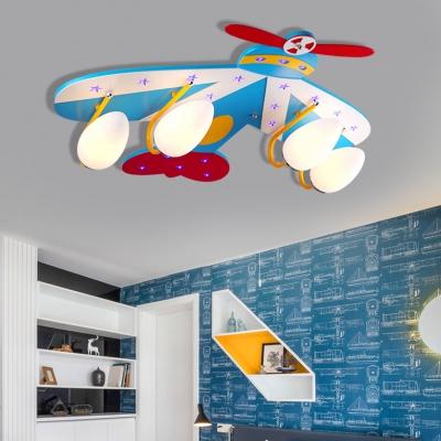 3/4 Heads Aircraft Flush Light Boys Bedroom Glass Shade Ceiling Lamp in Chrome