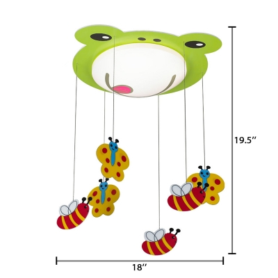 Acrylic Bowl Shade Flush Mount Lighting Boys Girls Bedroom LED Ceiling Lamp with Green Frog