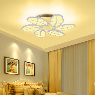 Acrylic Leaves Semi Flush Mount Modern Design 3/6 Heads Home Ceiling Light Fixture in Warm/White/Neutral