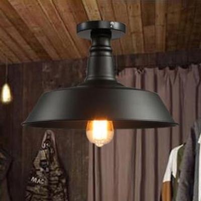 Barn Semi Flushmount Traditional Metal 1 Light Semi Flush Light Fixture in Black Finish for Foyer Porch