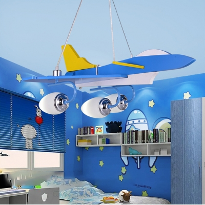 Blue Aircraft Suspended Light Milky Glass Shade 3 Lights Chandelier Lamp for Boys Bedroom