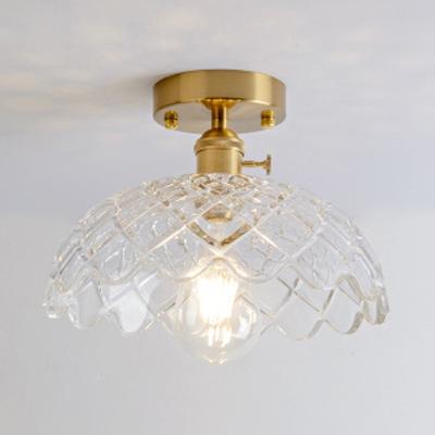 Lattice Glass Dome Semi Flush Mount Modern Fashion Single Head Semi Flush Light Fixture in Natural Brass