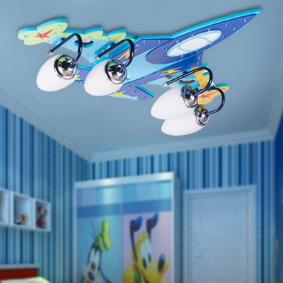 Metal Airplane Semi Flush Mount Contemporary Boys Bedroom 4 Lights Ceiling Light in Chrome