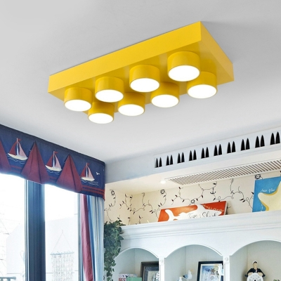 Metallic Rectangle Pendant Light with Toy Block Kindergarten Suspended Light in Blue/Red/Yellow