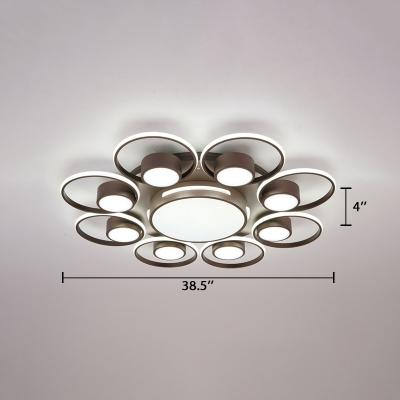 Modernism Circular Ceiling Fixture Metallic Multi Lights LED Flush Mount Light in Brown