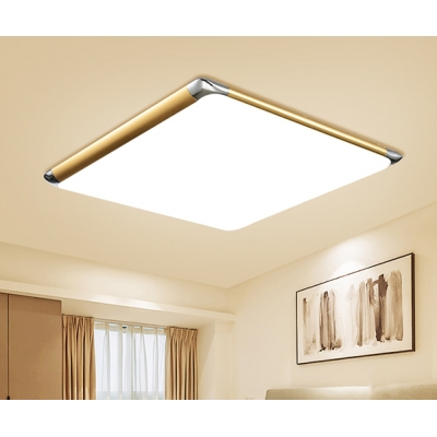 Nordic Style Ultra Thin Flush Light Metal Frame LED Ceiling Light in Warm/White with Square Shade